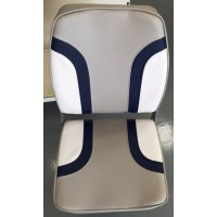 Folding High Back  Seat Navy and White