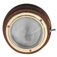 Teak and Brass LED Lamp Cool White 155mm dia