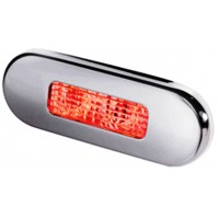 Oval Step Light Red LED 12volt S/steel lens 2304