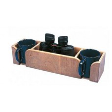 Teak Binocular and Mug Rack